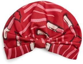 Valentino Lipstick-print silk-faille turban hat