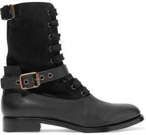 Chloé Otto Shearling-lined Suede And Leather Boots - Black