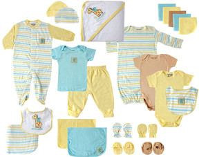 Luvable Friends Yellow Stripe Footie 24-Piece Gift Cube - Newborn