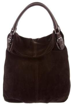 Max Mara Leather-Trimmed Suede Hobo