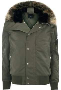 River Island Mens Khaki green faux fur trim hooded jacket