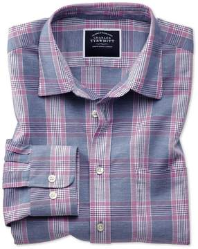 Charles Tyrwhitt Slim Fit Cotton Linen Blue and Purple Check Cotton Linen Mix Casual Shirt Single Cuff Size Small