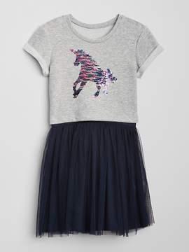 Gap Flippy Sequin Unicorn Mix-Fabric Dress