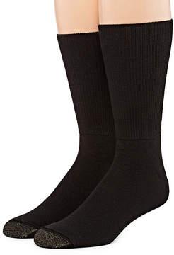 Gold Toe Men's 2 Pair Non-Binding Crew Socks-Extended Size