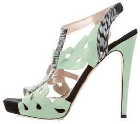 Aperlaï Laser Cut Platform Sandals