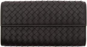 Bottega Veneta Black Intrecciato Fold Over Wallet