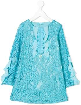Elisabetta Franchi La Mia Bambina ruffle lace shift dress
