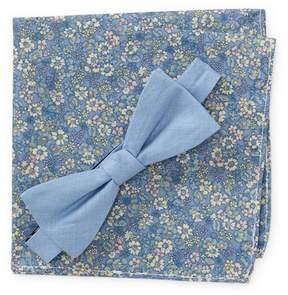 Original Penguin Hall Solid Pre-Tied Bow Tie & Floral Print Pocket Square Box Set