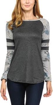 Celeste Dark Gray Stripe Contrast Raglan Top - Women