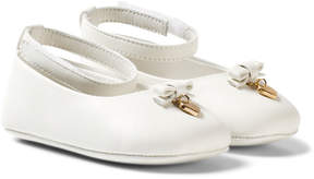 Dolce & Gabbana White Leather Crib Shoes with Charm