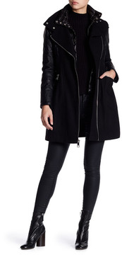 GUESS Textured Twill Quilted Faux Leather Coat