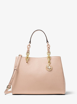 Michael Kors Cynthia Saffiano Leather Satchel - PINK - STYLE