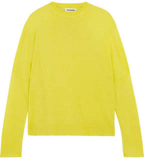 Jil Sander Linen, Cashmere And Silk-blend Sweater - Chartreuse