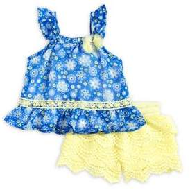 Nannette Baby Girl's Two-Piece Frill Top & Crochet Shorts Set