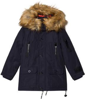 Diadora Night Blue Sanford Hooded Fur Lungo Nylon Parka Hooded Jacket