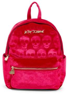 Betsey Johnson Head of the Class Skull Embossed Velvet Backpack