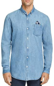 Scotch & Soda Pocket Square-Accented Denim Button-Down Shirt