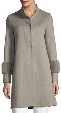 Fleurette Single-Breasted Wool Coat w/ Mink Cuffs