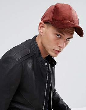 Asos Baseball Cap In Supersoft Burgundy Velour