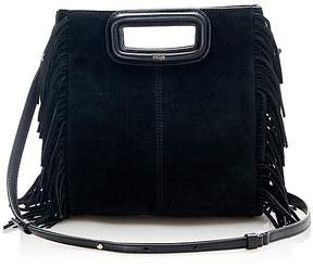 Maje Fringe Trim Suede Shoulder Bag