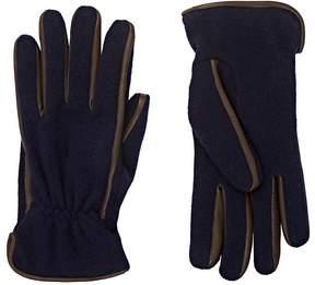 Barneys New York Men's Leather-Trimmed Knit Gloves