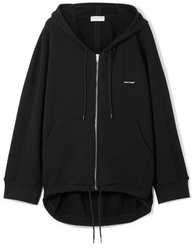 Balenciaga Cocoon Oversized Cotton-blend Terry Hooded Top - Black
