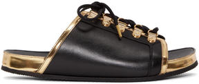Balmain Black and Gold Lace-Up Sandals
