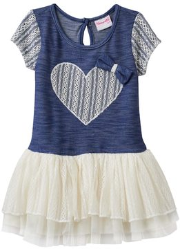 Nannette Toddler Girl Lace Heart Stretchy Knit Dress