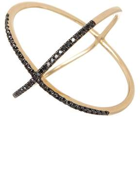 Ef Collection 14K Yellow Gold Pave Black Diamond X Ring - Size 7 - 0.19 ctw