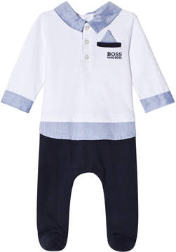 BOSS White and Navy Jersey Mock Outfit Baybgrow