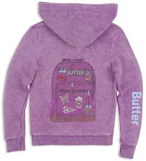 Butter Shoes Girls' Rhinestone-Embellished Lace-Up Hoodie - Little Kid