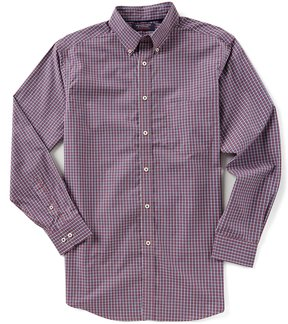Roundtree & Yorke Trademark Big & Tall Long-Sleeve Checked Sportshirt