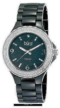 Burgi Black Moher of Pearl Dial Black Ceramic Ladies Watch