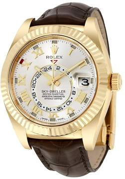 Rolex Sky Dweller Silver Dial 18kt Yellow Gold Brown Leather Men's Watch
