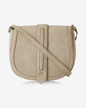 Express Faux Suede Trapunto Stitch Saddle Bag