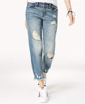 Dollhouse Juniors' Ripped Cropped Raw-Hem Jeans