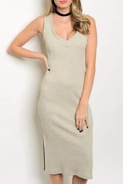 Cherish Midi Oatmeal Dress