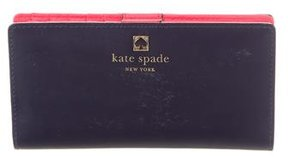Kate Spade Leather Logo Wallet - BLUE - STYLE
