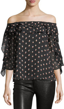 Collective Concepts Graphic-Print Off-the-Shoulder Blouse