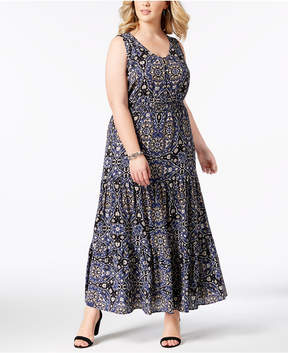 NY Collection Plus & Petite Plus Size Printed Boho Maxi Dress