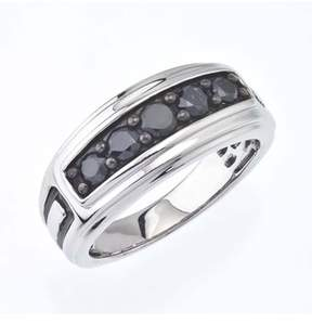 Black Diamond Ax Jewelry Mens Band In Sterling Silver (1.00 Carats).