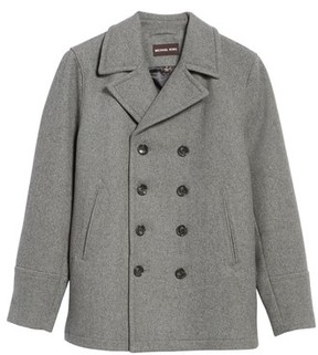 Michael Kors Men's Big & Tall Wool Blend Peacoat