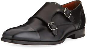 Ermenegildo Zegna Milano Double-Monk Leather Shoe, Black