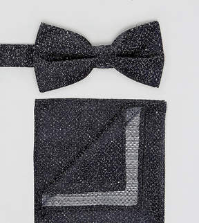 New Look Speckled Bow Tie And Pocket Square In Navy