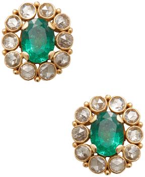 Amrapali Women's 18K Yellow Gold, Emerald & 3.16 Total Ct. Diamond Stud Earrings