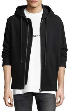 Helmut Lang Rib-Knit Zip-Front Hoodie