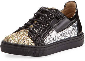 Giuseppe Zanotti Glittered Leather Sneakers, Toddler/Youth Sizes 9T-2Y