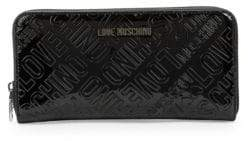 Love Moschino Patent Logo Embossed Wallet