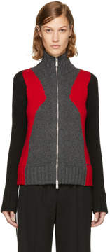 DSQUARED2 Grey and Red Panel Zip Sweater