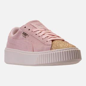 Puma Girls' Grade School Suede Platform Glam Casual Shoes